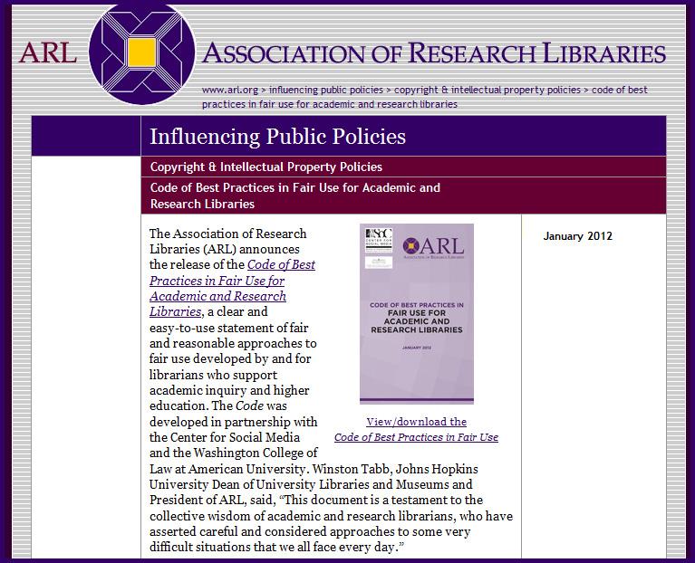 Fair Use Report from ARL - January 2012
