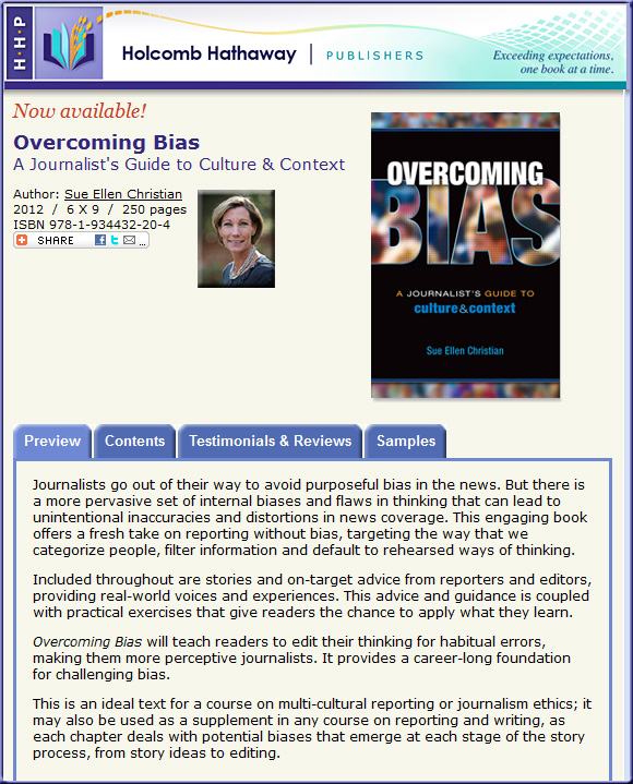 Overcoming Bias -- a new textbook for journalism majors by Sue Ellen Christian; published January 2012