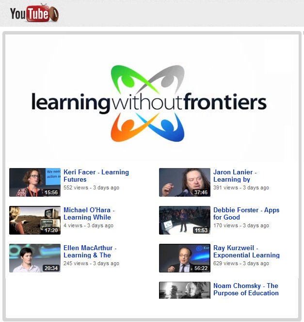 Recordings from Learning Without Frontiers - from the UK from January 2012