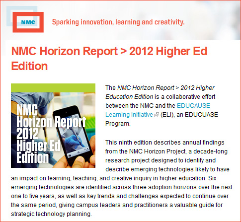 The NMC 2012 Horizons Report for Higher Ed is now out