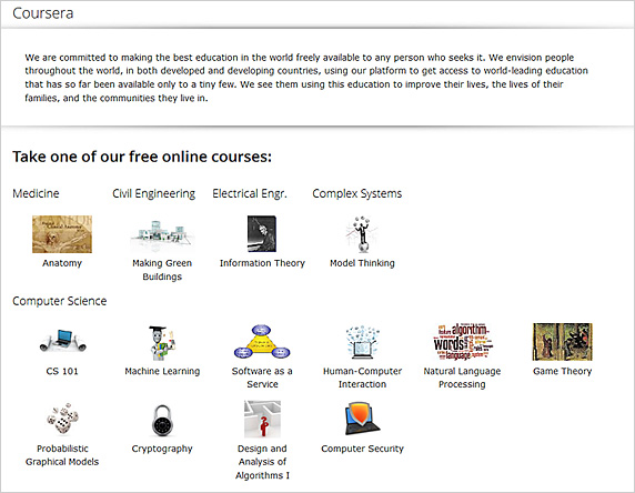 Coursera -- more free courses being offered online by top faculty members