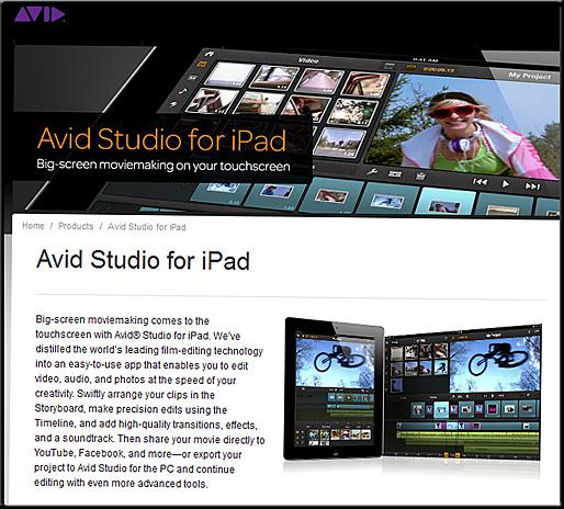 Avid Studio for the iPad -- March 2012