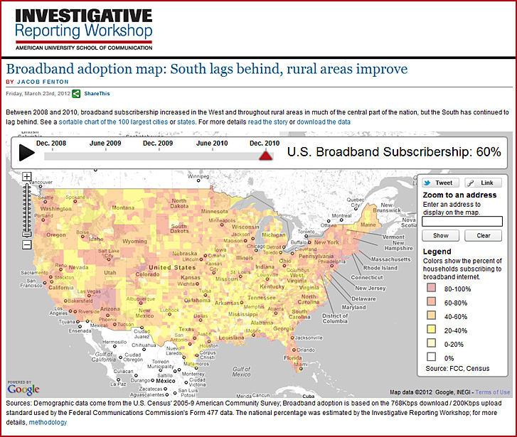 U.S. broadband adoption map - March 2012