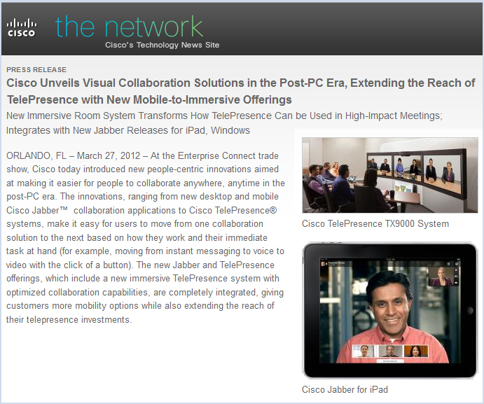 Cisco unveils visual collaboration solutions in the Post-PC era