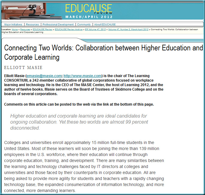Connecting Two Worlds: Collaboration between Higher Education and Corporate Learning -- from Elliott Masie