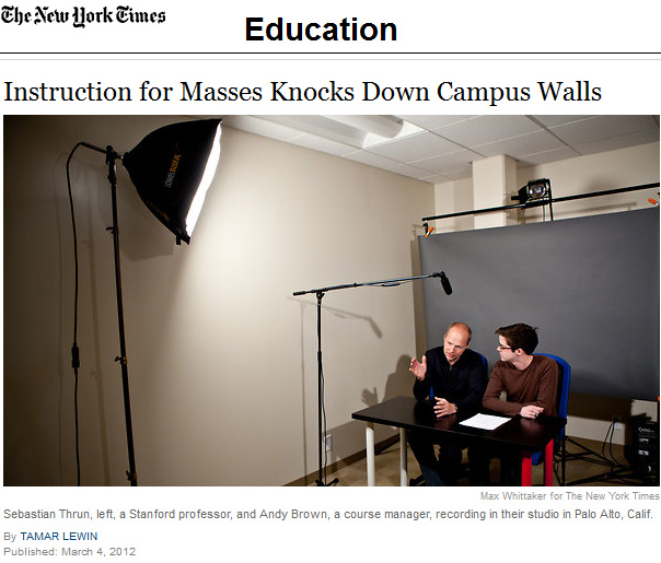 Instruction for masses knocks down campus walls -- from the New York Times by Tamar Lewin