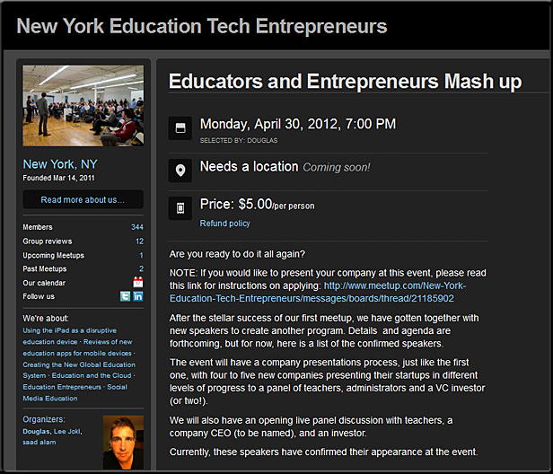 New York Education Tech Entrepreneurs -- meeting/event in April 2012