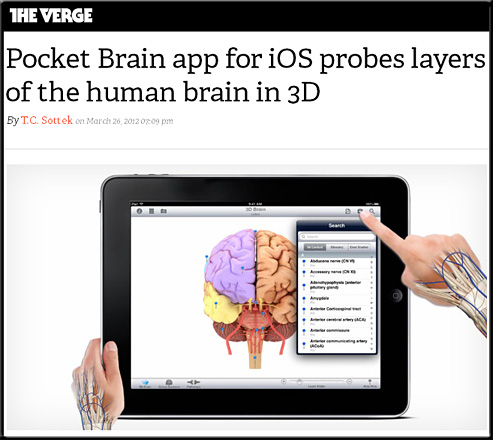 Pocket Brain app for iOS probes layers of the human brain in 3D