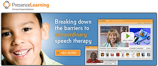 presencelearning.com -- great, new resource for online-based speech therapy