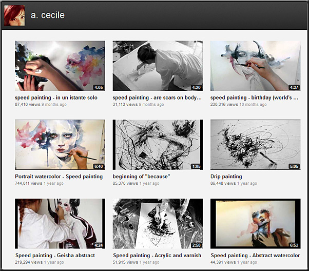 Videos of various selections of speed painting -- by Agnes Cecile as of April 2012
