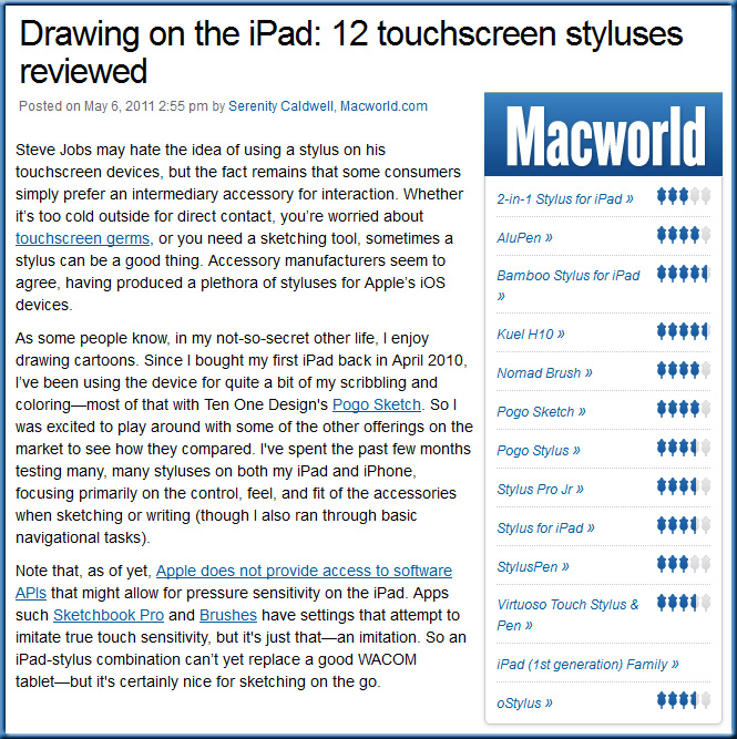 Drawing on the iPad: 12 touchscreen styluses reviewed