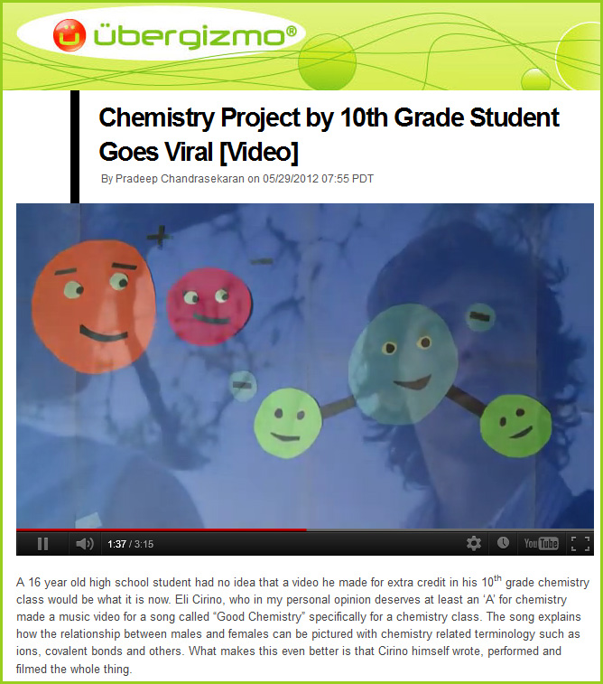 Chemistry project goes viral -- great work Eli Cirino!