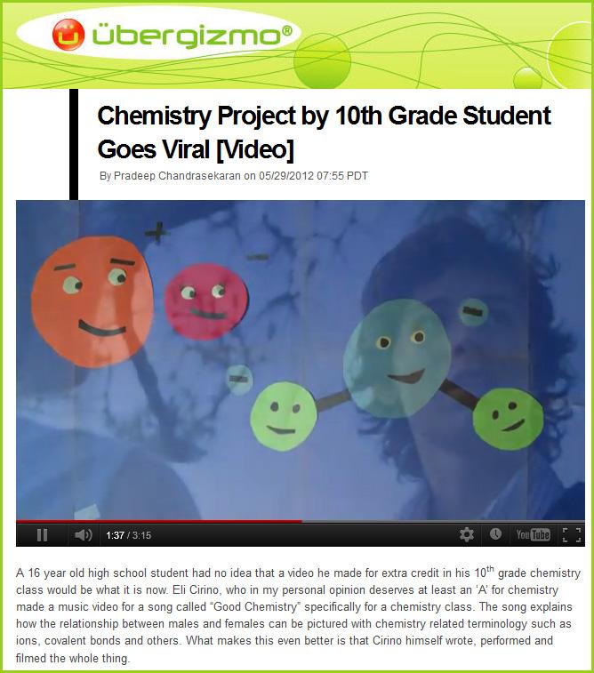 Chemistry project goes viral -- great work Eli Cirino!