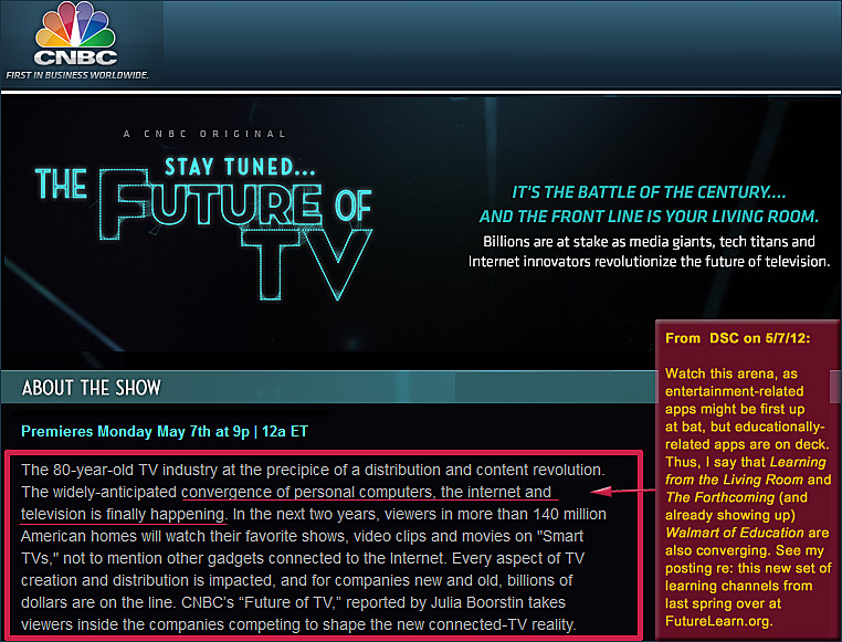 The Future of TV  - special from CNBC which airs tonight - May 7, 2012
