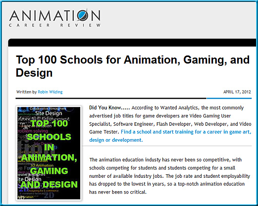 Top 100 Schools for Animation, Gaming, and Design - May 2012