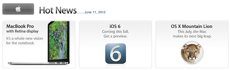 Announcements from Apple's WWDC -- on 6-11-12
