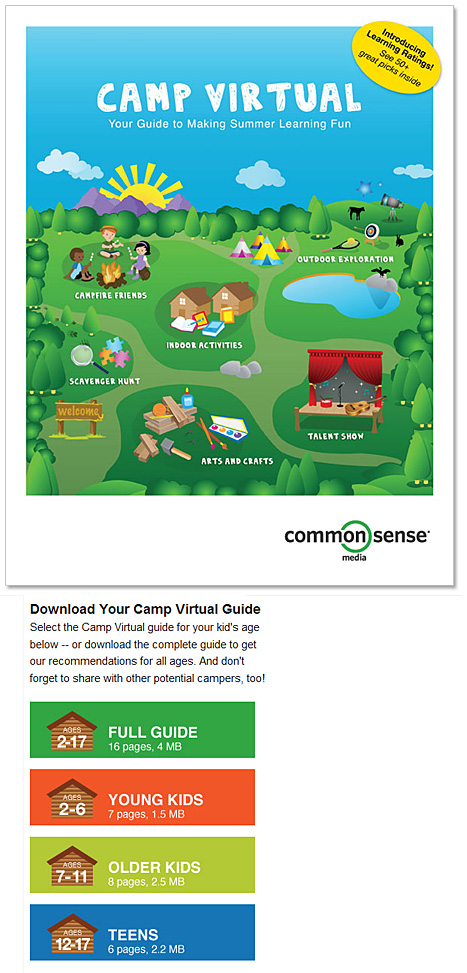 Summer Learning Guide from CommmonSenseMedia.org