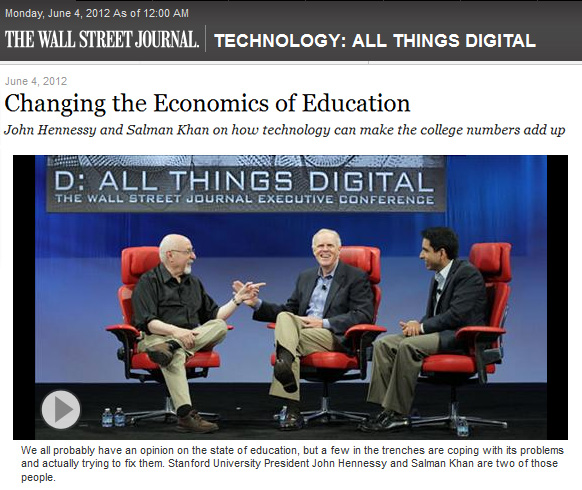 Changing the Economics of Education -- John Hennessy and Salman Khan at 2012 All Things Digitall