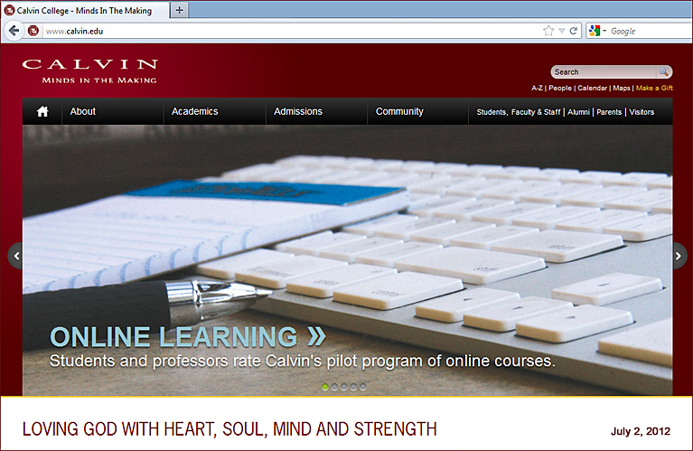 Calvin Online -- Students and faculty appraise the online classes offered through Calvin's 2012 pilot program.