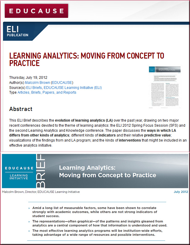 Learning Analytics -- Moving from Concept to Practice -- Malcolm Brown -- Educause ELI -- July 2012
