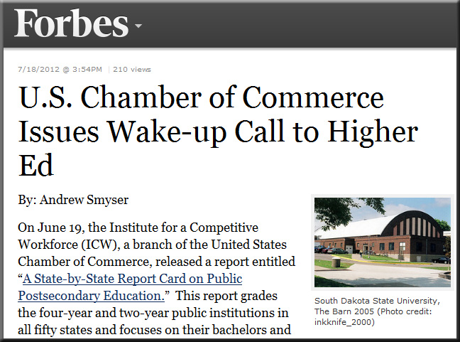 U.S. Chamber of Commerce Issues Wake-up Call to Higher Ed