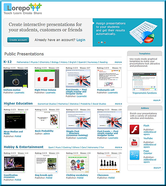 lorepo.com -- Lorepo is our key solution for everyone interested in learning, creating and sharing interactive content.