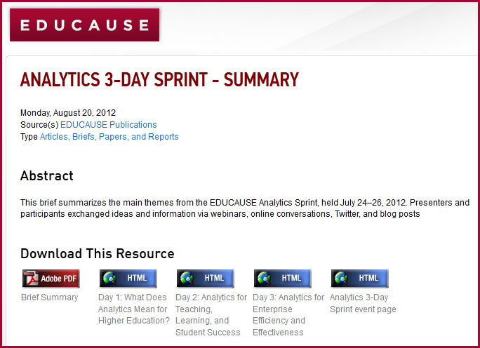 Summary of Analytics 3-Day Sprint --  from educause