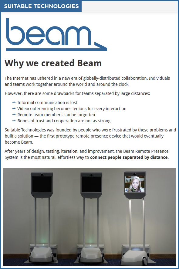 Remote presence system called Beam -- from Suitable Technologies - September 2012