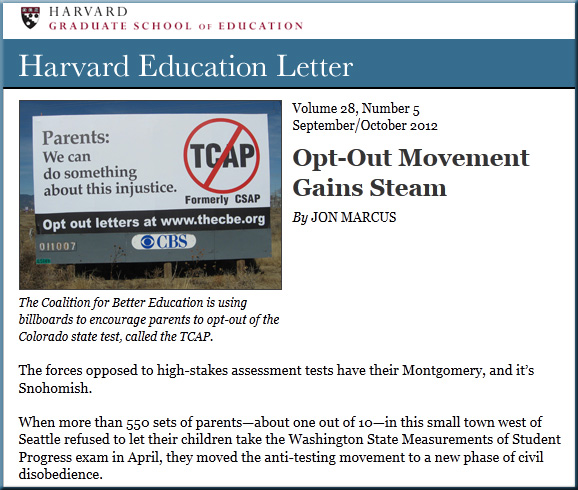 Opt-Out Movement Gains Steam -- Harvard Education Letter - Sep/Oct 2012