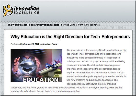 Why education is the right direction for tech entrepreneurs -- by Harrison Kratz -- 9-26-12