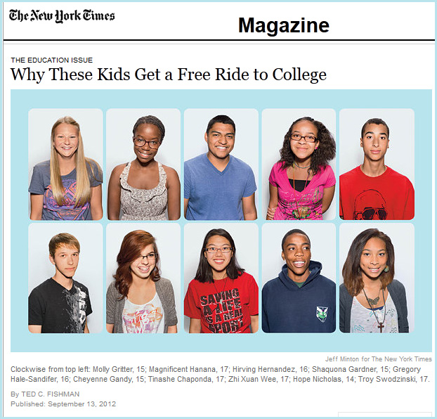 Why these kids get a free ride to college --= from The New York Times by Ted Fishman