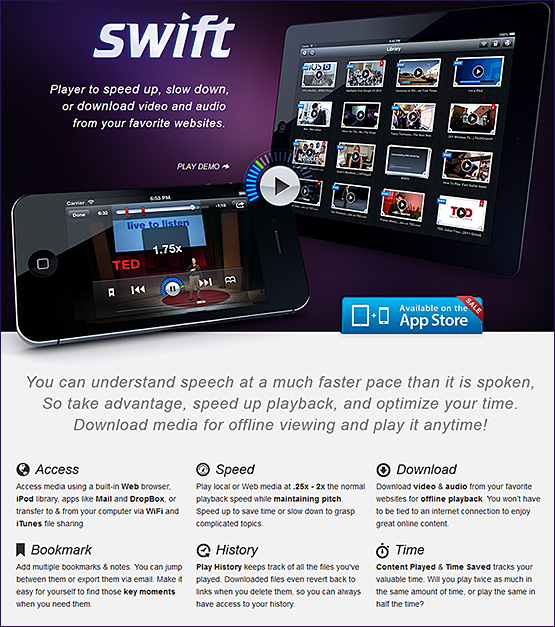 Swift -- A player to speed up, slow down, or download video and audio from your favorite websites