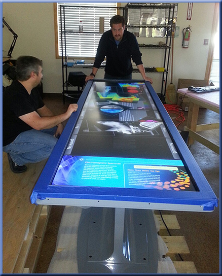 "100"" multitouch table almost ready to ship! -- from Ideum in October 2012"