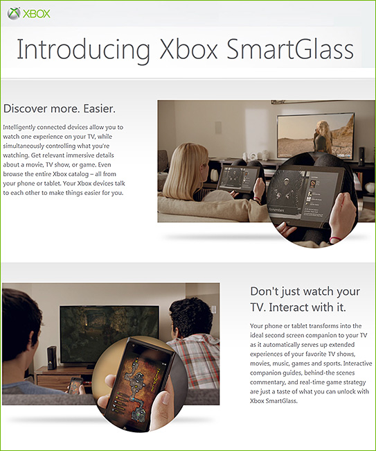 SmartGlass from Microsoft reminds me of the convergence...of learning from the living room.