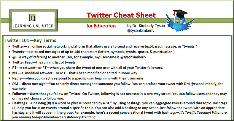 Twitter Cheat Sheet for Educators -by Kimberly Tyson - December 2012