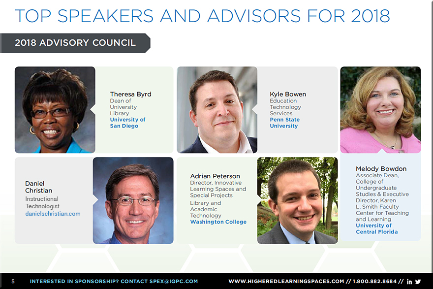 The Advisory Board for the 2018 Next Generation Learning Spaces Conference