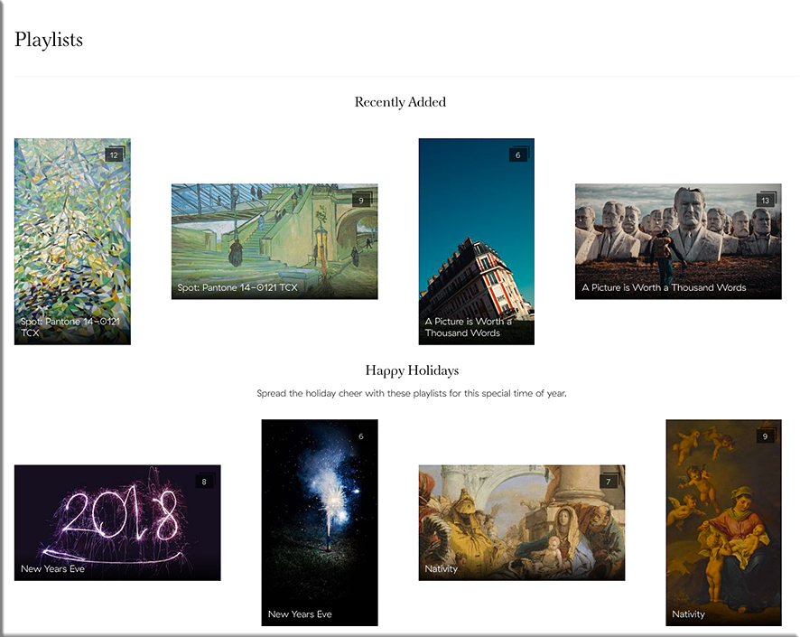 Discover new artwork with Meural -- you can browse playlists of artwork and/or add your own
