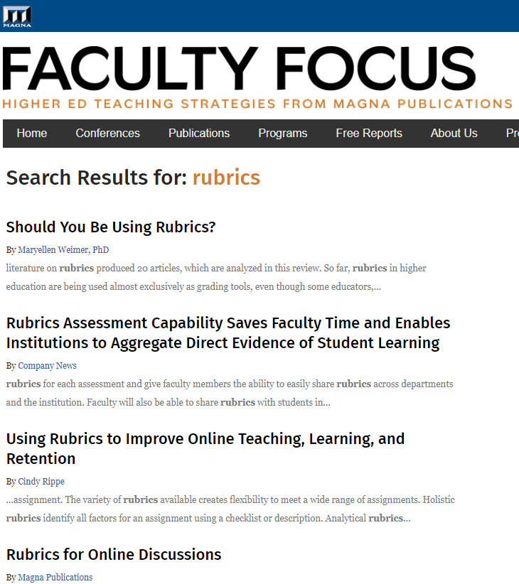 this graphic links to a search for rubrics out at FacultyFocus.com