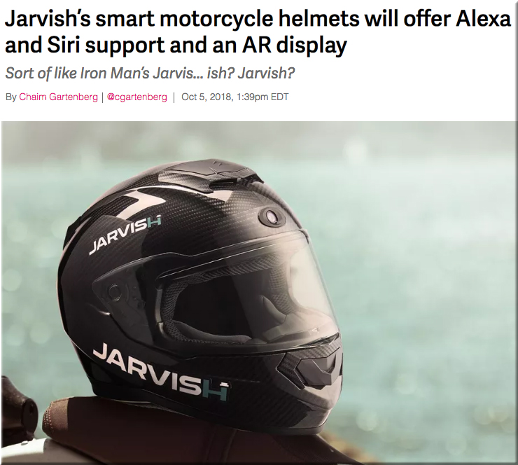 fefecf035de Jarvish s smart motorcycle helmets will offer Alexa and Siri support and an  AR display