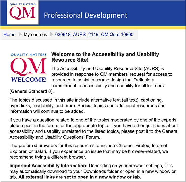 Accessibility and Usability Resource site from Quality Matters
