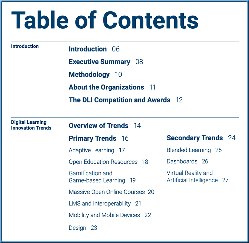 The table of contents for the Digital Learning Innovation Trends (2020)