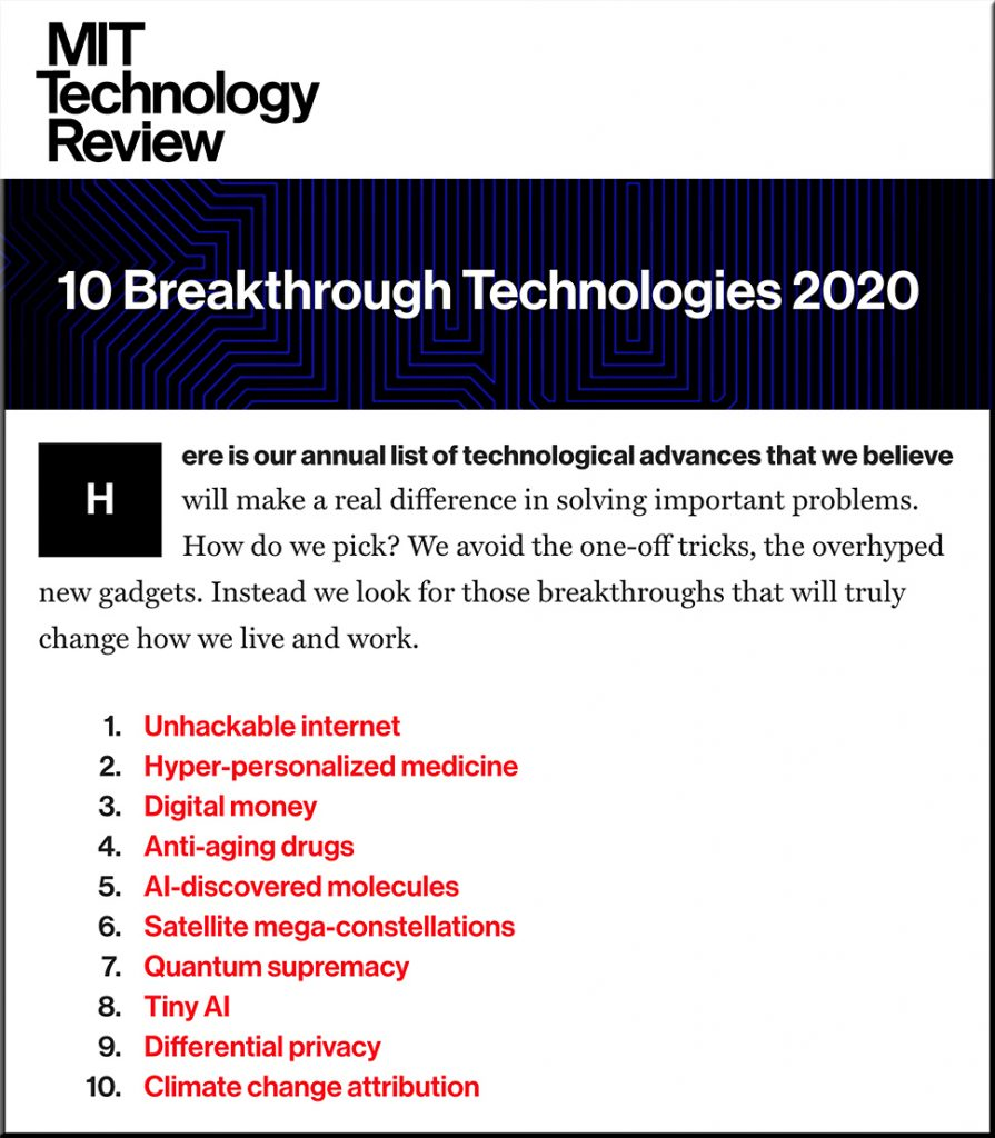 10 Breakthrough Technologies 2020 -- from MIT