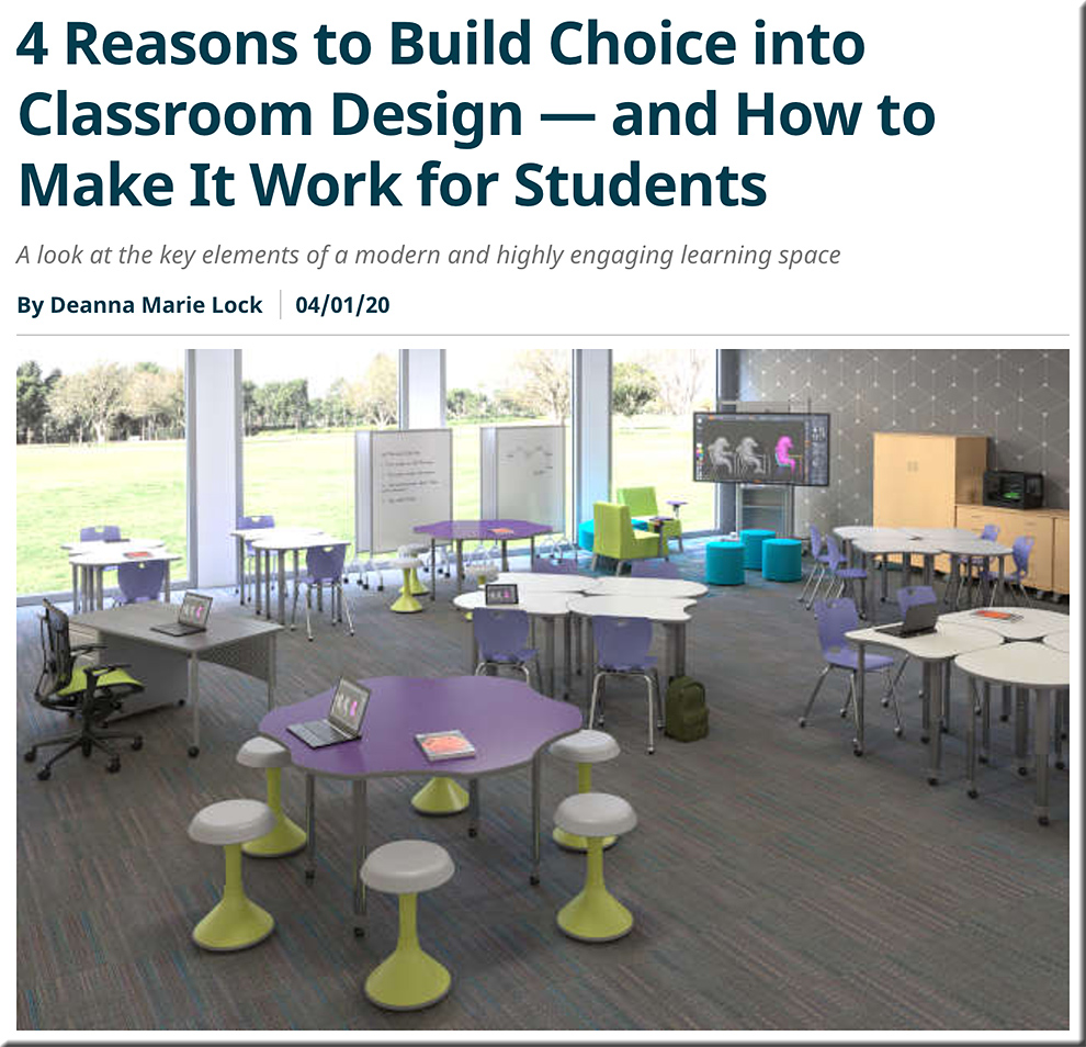 providing more choice and more control to students within the physcial classroom