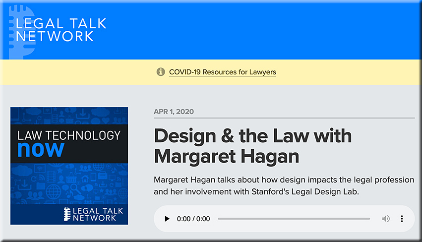 Design and the law with Margaret Hagan -- a podcast out at the Legal Talk Network