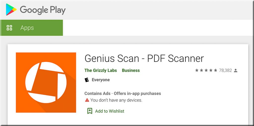 Yale recommends Genius Scan for Android devices -- i.e., for scanning documents