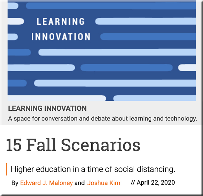 15 fall scenarios for higher education this fall (i.e., the fall of 2020)