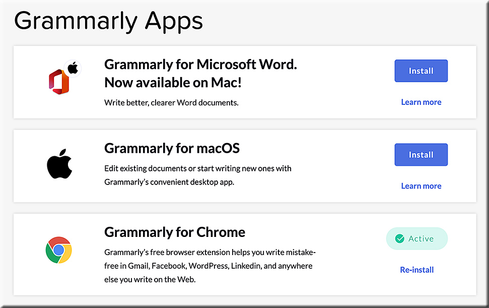 Grammarly Apps -- as of May 2020