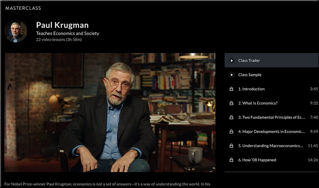 Paul Krugman, Economist, teaching on Masterclass.com