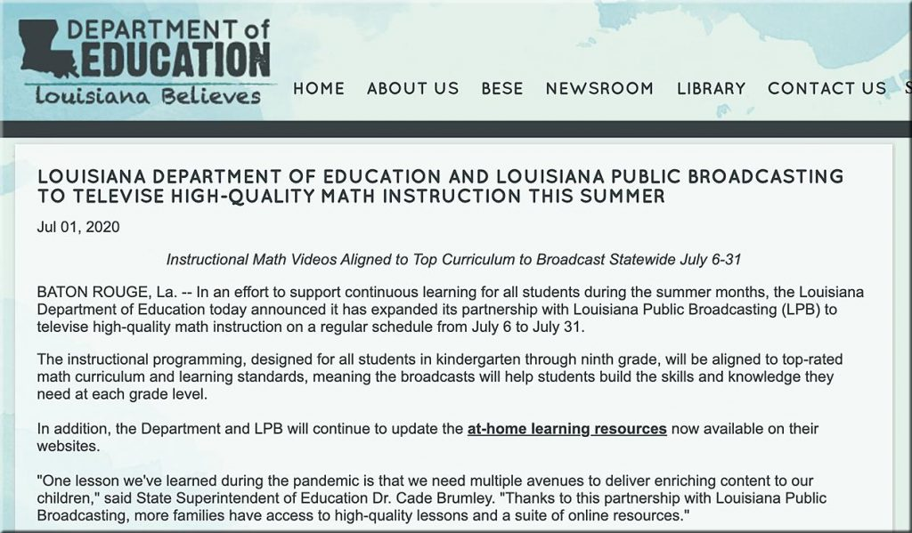 LOUISIANA DEPARTMENT OF EDUCATION AND LOUISIANA PUBLIC BROADCASTING TO TELEVISE HIGH-QUALITY MATH INSTRUCTION THIS SUMMER