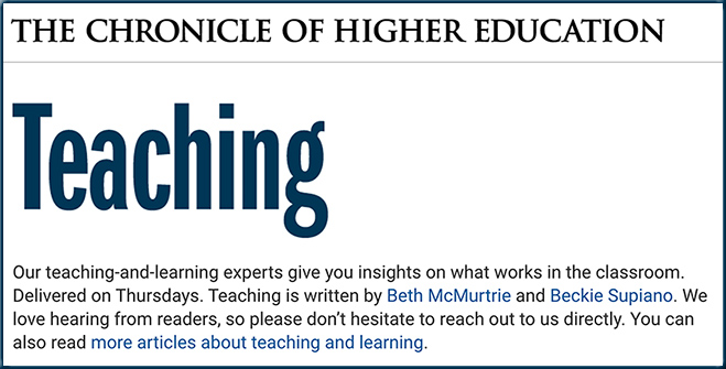 Teaching -- over at The Chronicle